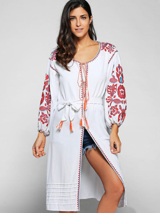 Embroidered Fringed Linen Long Dress - sparshine