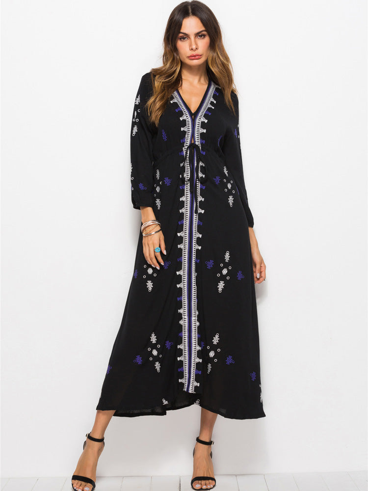 Tie Waist Embroidered Trim Symmetric Dress