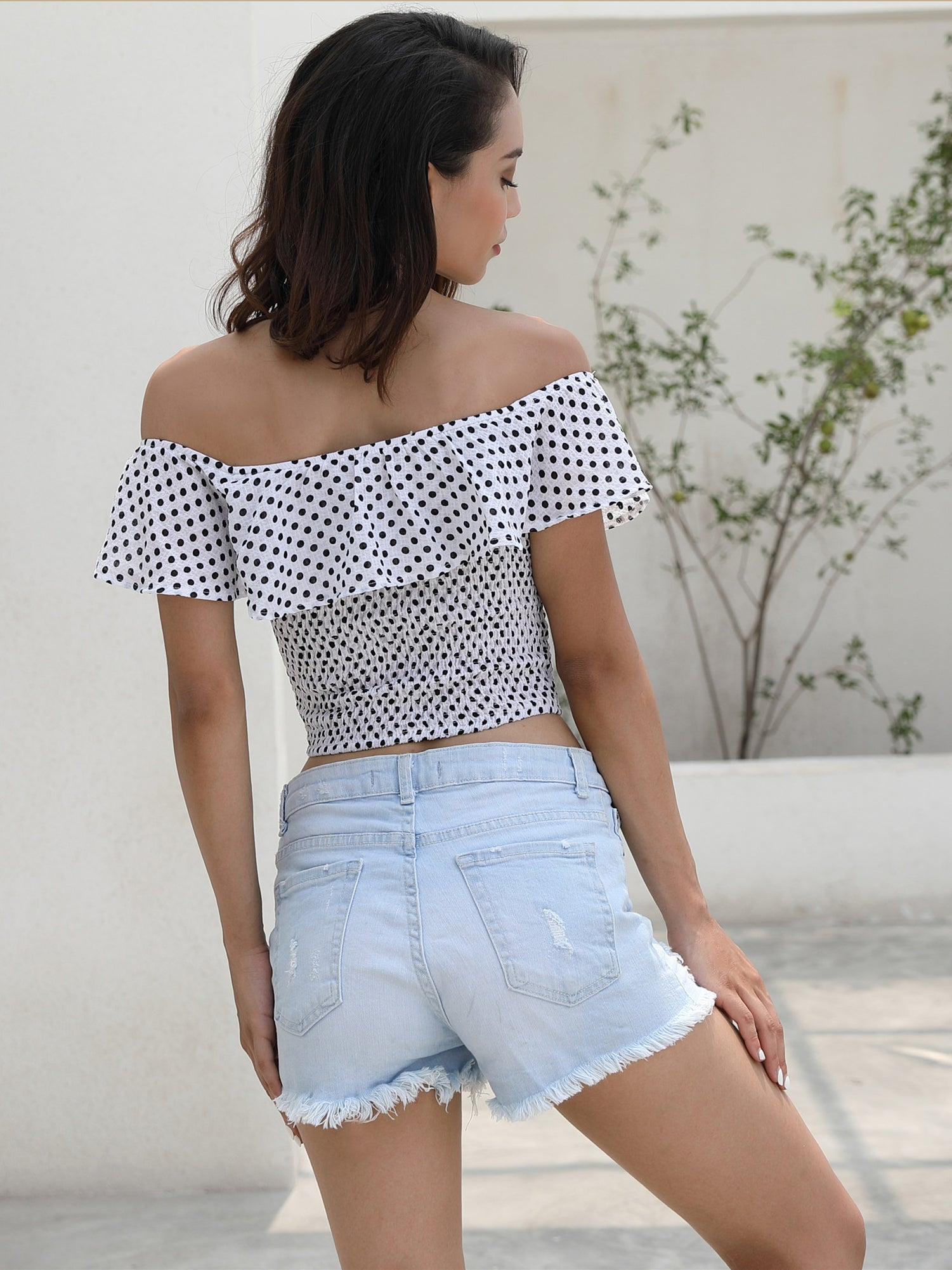 Wave Point Off Shoulder Sexy Belly Button Blouse