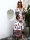 Printed V-neck Bohemian Hit Color Dress