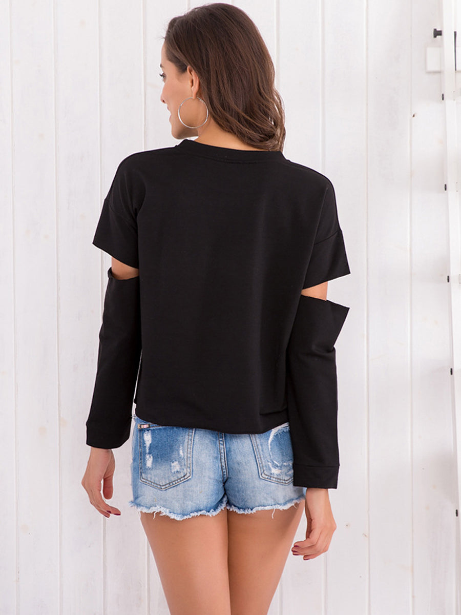 Black Part Hollow Pullover Tops Long Sleeve T Shirt Sweatshirt - sparshine
