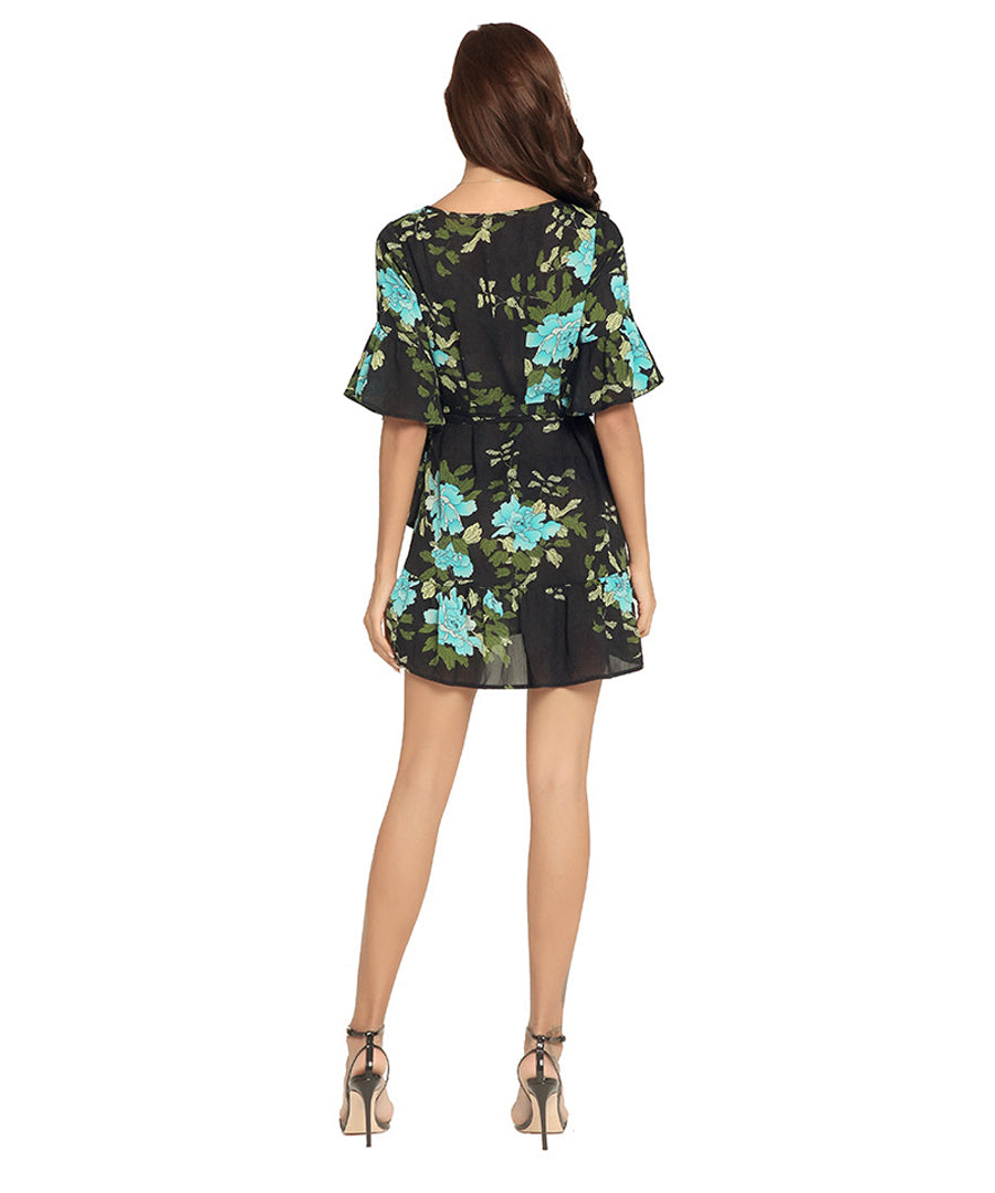 Women Fashion Floral Elegant Mini Dress