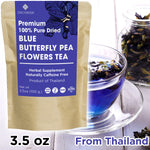 Decorish PREMIUM 100% Pure Blue Dried Butterfly Pea Flower Tea Organic Thai Herbal Non-Caffeine 100g (3.5 oz)