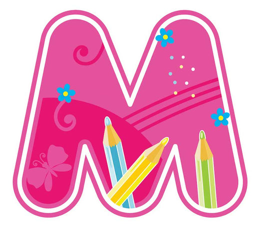 Individual colourful cut-out letters M