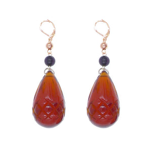 Etched Teardrop Earrings Amber