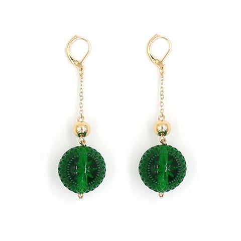 douglaspoon hand carved and polished resin earrings in emerald green