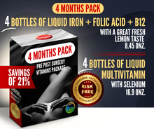 Load image into Gallery viewer, 4 Months Supply Pre Post Surgery Kit: Liquid Iron + Liquid Vitamins - 21% OFF