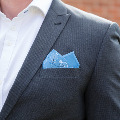 Road Cycling Gift For Him - Hipster Pocket Square Featuring Bicycle Pattern - Personalise For Birthday