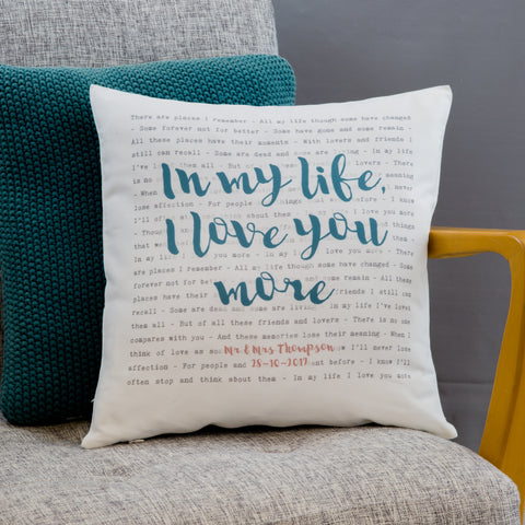 Song Lyrics Cushion 'Our Song' Typography 2nd Anniversary Gift
