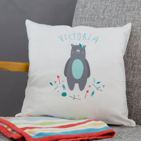 Children's Nursery Décor Personalised - Adventure Bear Cushion - New Baby Or Kids Birthday Gift