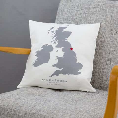 Cotton 2nd Anniversary Gift - Personalised Wedding Venue Location Map Cushion - For Him Or Her