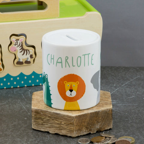 Personalised Child's Gift - Jungle Animals Moneybox Piggy Bank - Toddler Present