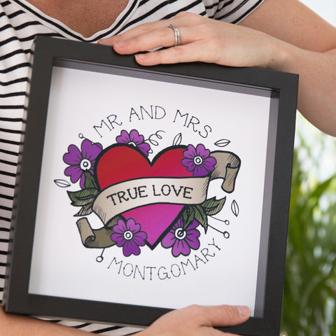 Illustrated Gift For Her - Día De Muertos Inspired Daisies Heart Romantic Print - 4th Anniversary Present