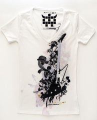 Optic White Floral Guitar Tee