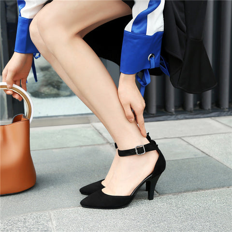 Black suede pointed toe women's shoes