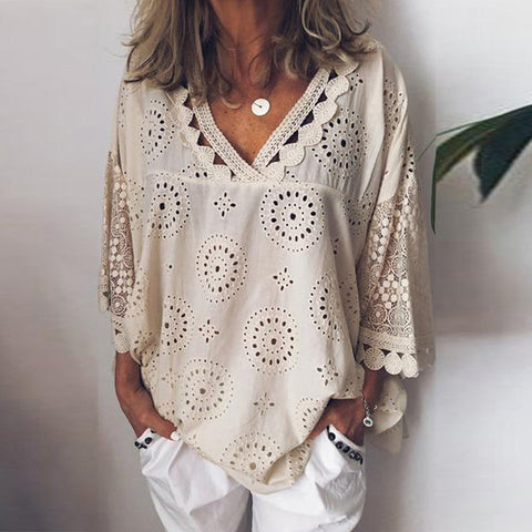 beige lace casual women's blouse