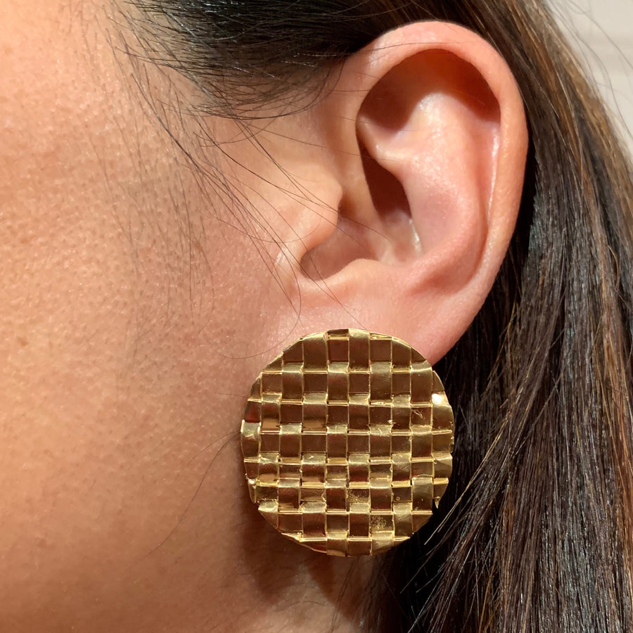 Woven Round Earrings