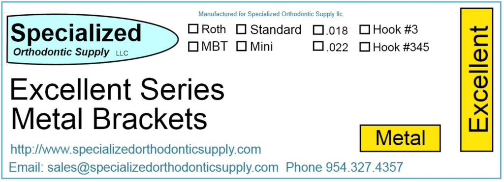 *       Excellent Series (Individual) Metal Bracket    Roth    .018     Standard