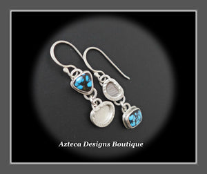 Petite Asymmetrical Indian Mountain Turquoise Argentium Silver Hand Fabricated Earrings