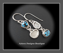 Load image into Gallery viewer, Petite Asymmetrical Indian Mountain Turquoise Argentium Silver Hand Fabricated Earrings