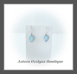 Cultured Sterling Opal + Argentium Silver + Hand Fabricated Wavy Ear Wire Drop Earrings
