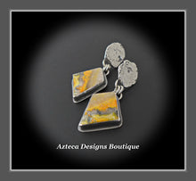 Load image into Gallery viewer, Bumble Bee Jasper Earrings+Hand Fabricated+Sterling Silver+Post Earrings
