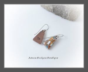 Copper+Spiny Oyster Composite+Hand Fabricated Rustic Earrings