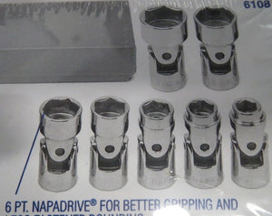 "Napa 6108 7 Piece 3/8"" Drive 6 Point SAE Flex Socket Set USA"
