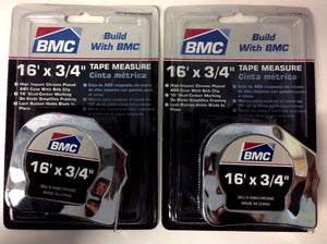 "BMC S166CHROME Tape Measure - 3/4"" x 16'  2PCS"