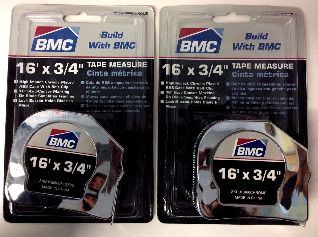 BMC S166CHROME Tape Measure - 3/4