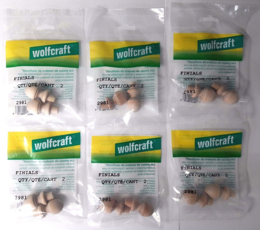 Wolfcraft Wood Finials 2981 12 Finials USA 6-2 PKS