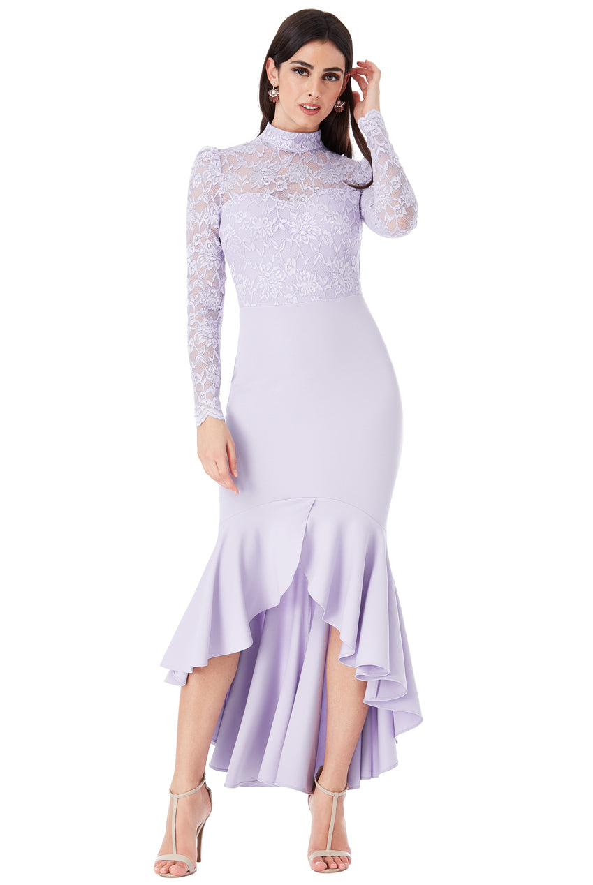 Lavender Long Sleeved Fishtail Maxi Dress with Open Back