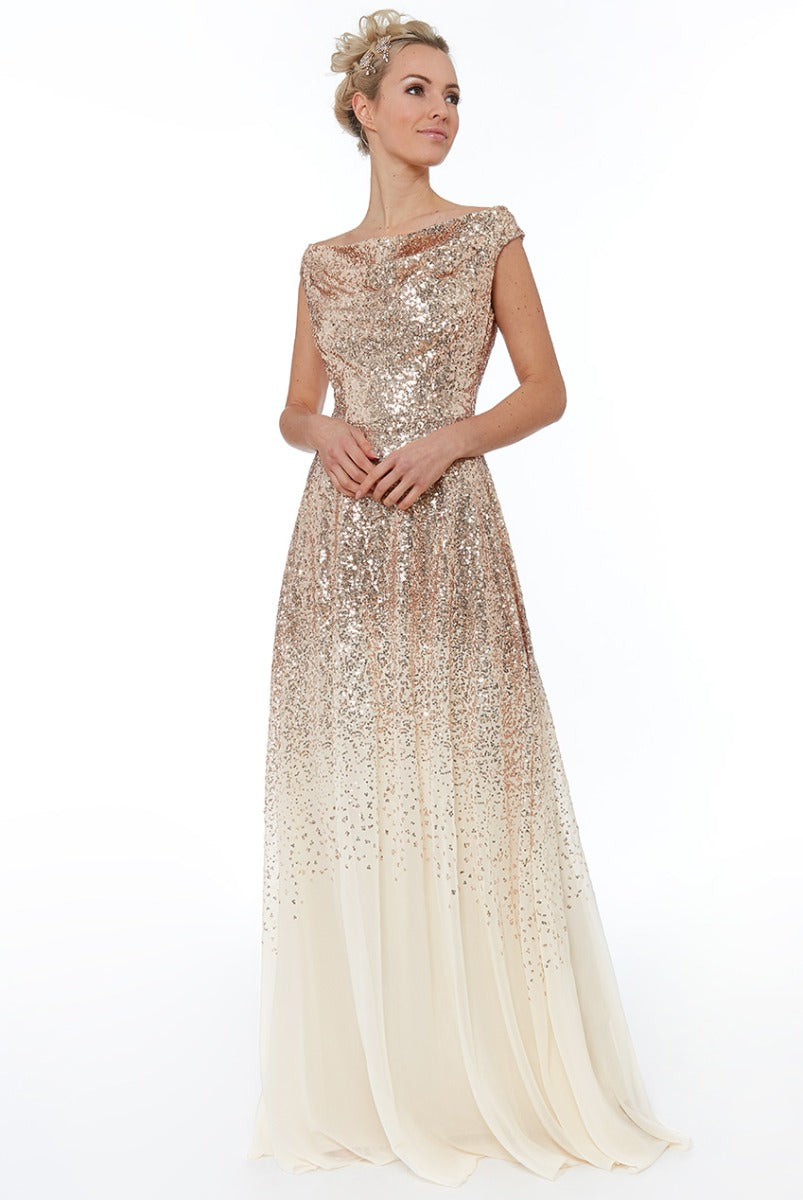 Pleated Bodice Sequin & Chiffon Maxi Dress - Champagne