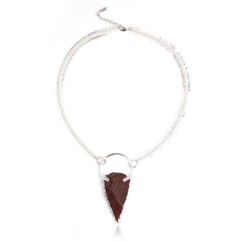 ARROW COLLECTION -. FISHBONE NECKLACE SILVER