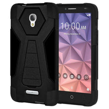 Load image into Gallery viewer, AMZER Dual Layer Hybrid KickStand Case for Alcatel Fierce 4 - Black/Black - fommystore