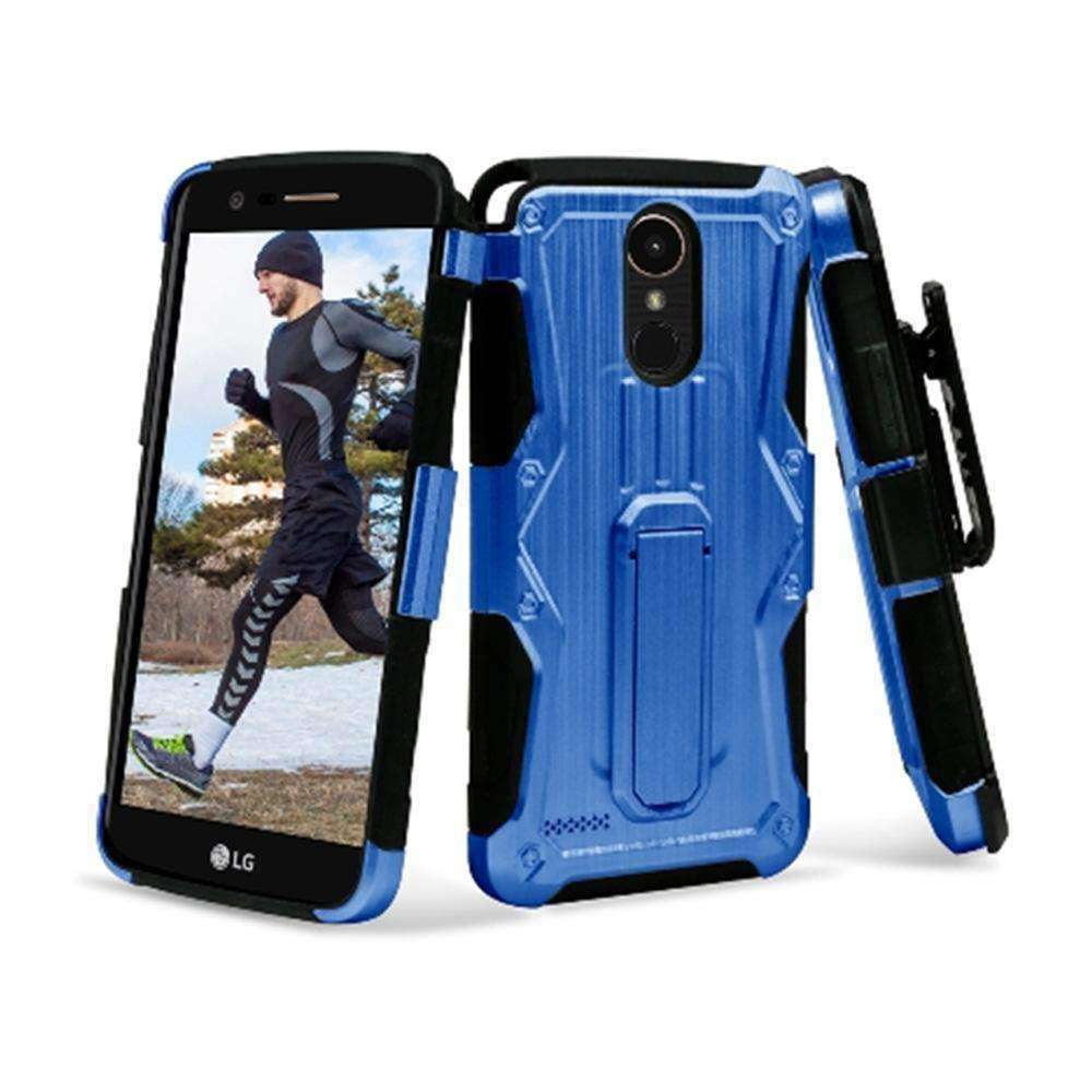 Heavy Duty Shockproof Extreme Protective Cover With Holster - Black/ Blue for LG Stylus 3/ LG Stylo 3 for LG K10 Pro LGM400DF - fommystore