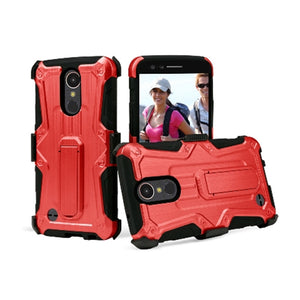 Heavy Duty Shockproof Extreme Protective Cover With Holster - Black/ Red for LG Harmony M257 - fommystore