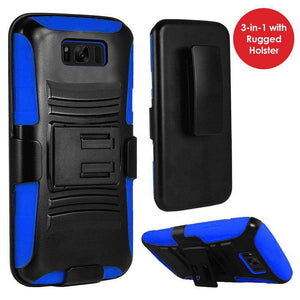 Rugged TUFF Hybrid Armor Hard Defender Case with Holster - Black/ Dark Blue for Samsung Galaxy S8 - fommystore