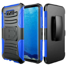 Load image into Gallery viewer, Rugged TUFF Hybrid Armor Hard Defender Case with Holster - Black/ Dark Blue for Samsung Galaxy S8 - fommystore