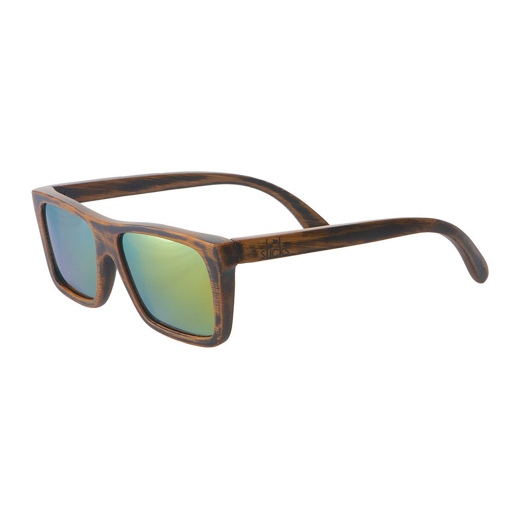 The Vagabond style from Sticks Wooden Sunglasses with aqua gold lenses