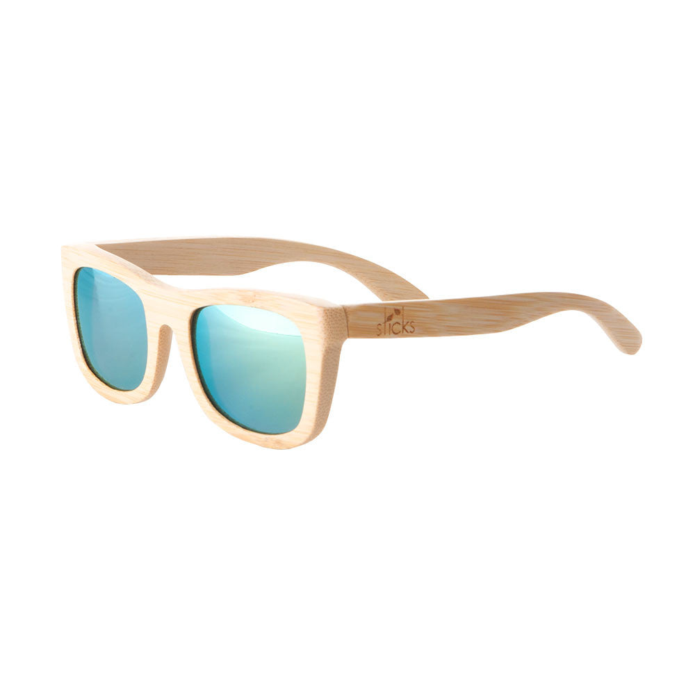 The Fairweather style from Sticks Wooden Sunglasses with aqua gold lenses