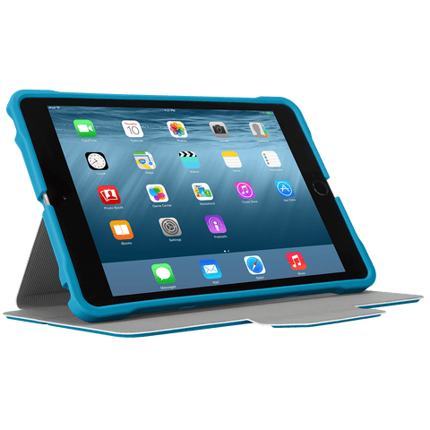 Blue 3D Protection Case for iPad mini® (THZ59502GL) - In Use Landscape Viewing Right hidden