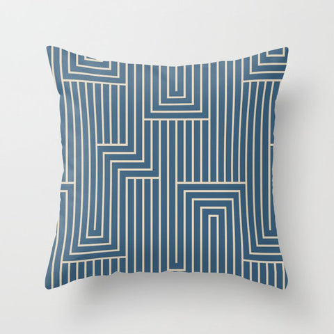 Beige & Blue Art Decor Pattern 2 Inspired by Chinese Porcelain 2020 Color of the Year Throw Pillow