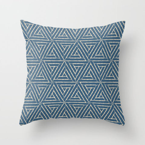Beige & Blue Aztec Tribal Triangle Pattern Pairs To 2020 Color of the Year Chinese Porcelain PPG1160 Throw Pillow