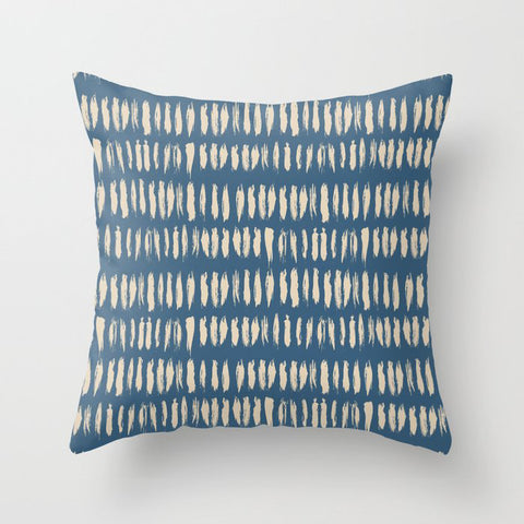 Beige & Blue Bold Grunge Vertical Stripe Dash Line Pattern Inspired by 2020 Color of the Year Throw Pillow