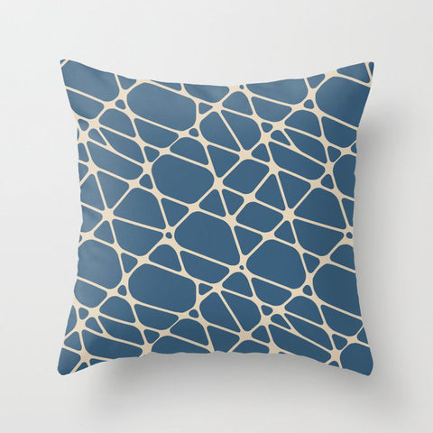 Blue & Beige Abstract Mosaic Pattern 1 Pairs To 2020 Color of the Year Chinese Porcelain PPG1160-6 Throw Pillow