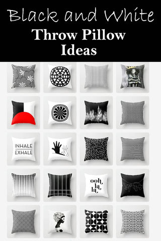 Black & White Indoor Throw Pillows and Outdoor Patio Pillows From A Variety Of Artists on Society 6