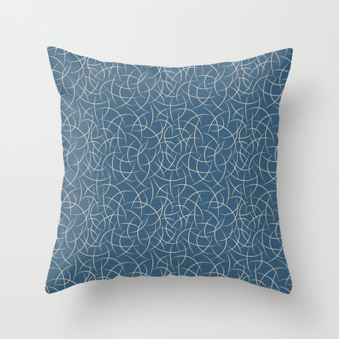 Blue & Beige Abstract Crescent Moon Shape Pattern Pairs To 2020 Color of the Year Chinese Porcelain Throw Pillow