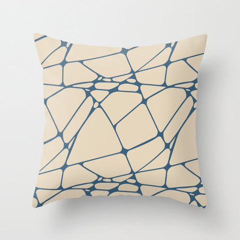 Blue & Beige Abstract Mosaic Pattern 1 2020 Color of the Year Chinese Porcelain PPG1160-6 Throw Pillow