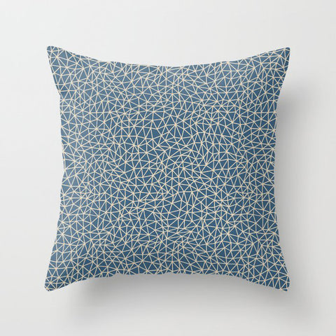 Blue & Beige Abstract Multi Sized Triangle Pattern Pairs To 2020 Color of the Year Chinese Porcelain Throw Pillow